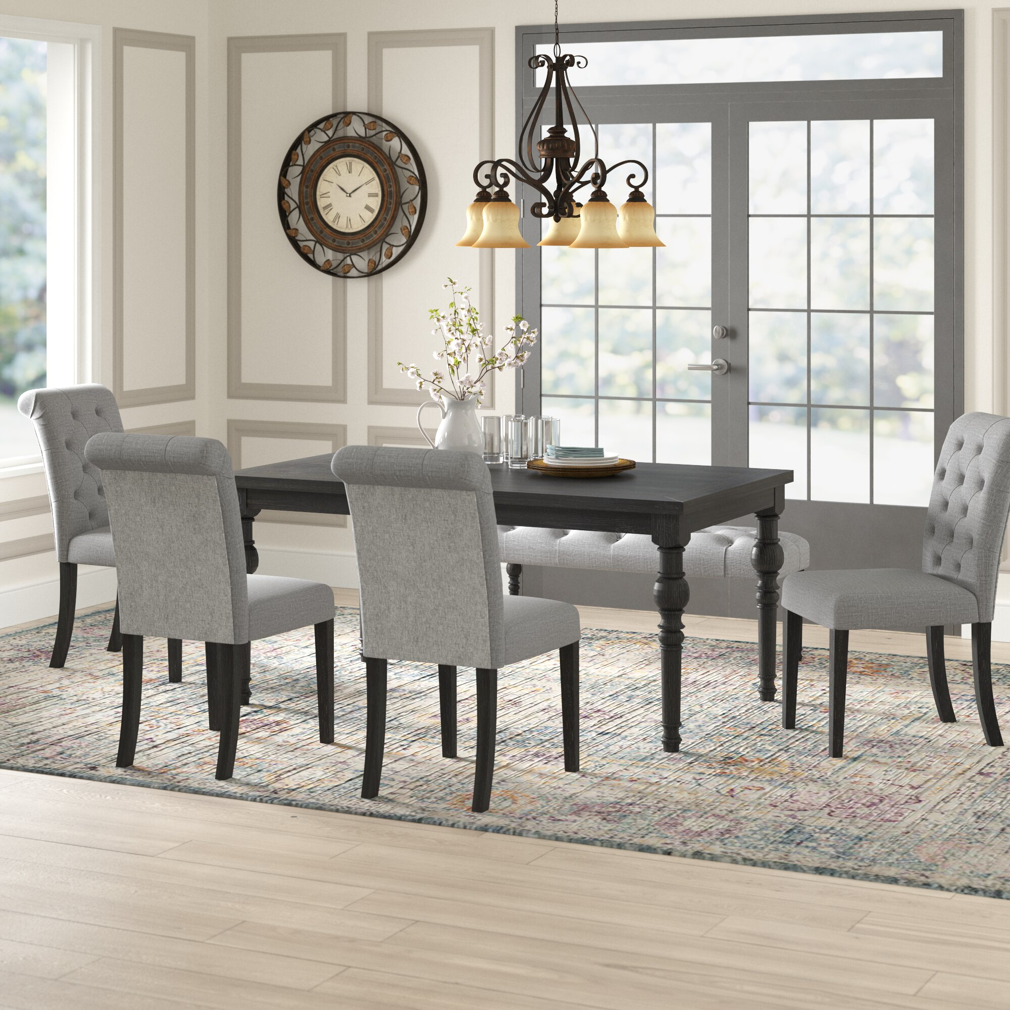 Evelin 9   Person Solid Wood Dining Set