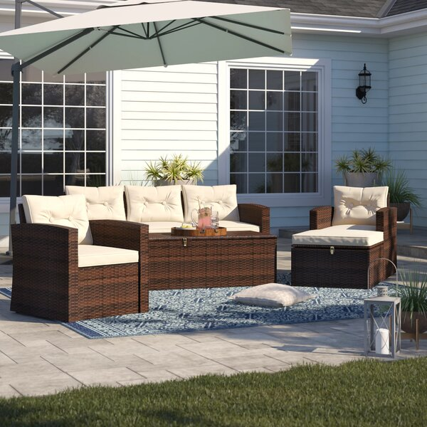 Arlington 5 Piece Rattan Sofa Seating Group with Cushions by Sol 72 Outdoor