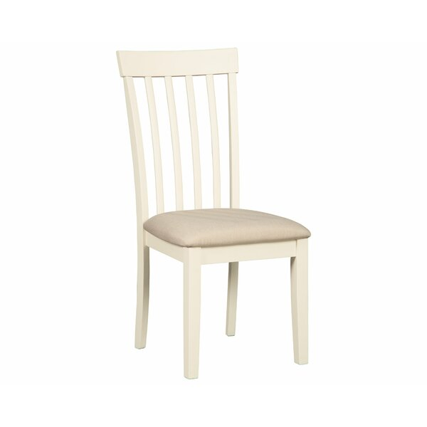 Trueblood Upholstered Solid Wood Slat Back Side Chair In White (Set Of 2) By August Grove