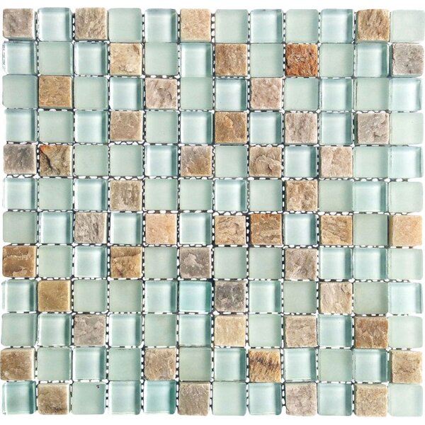 Mineral 1 x 1 Glass and Slate Mosaic Tile in Blue by Abolos