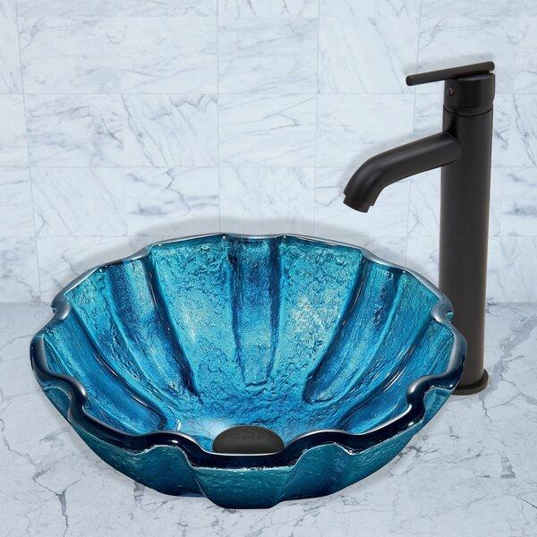 Mediterranean Seashell Glass Circular Vessel Bathroom Sink with Faucet by VIGO