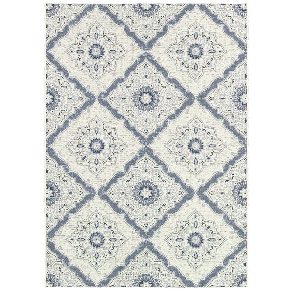 Ridgway Flat woven/Power Loom Ivory/Blue Indoor/Outdoor Area Rug by Darby Home Co