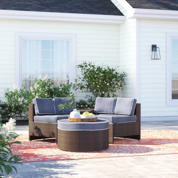 Bermuda 4 Piece Rattan Sectional Seating Group With Cushions By Sol 72 Outdoor by Sol 72 Outdoor Wonderful