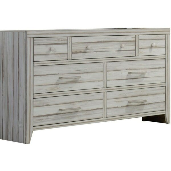 Quinlynn Wood 7 Drawer Double Dresser by Breakwater Bay