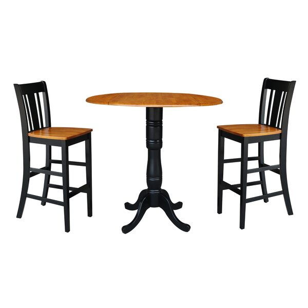 Naugatuck Round Top Pedestal Extending 3 Piece Pub Table Set by August Grove