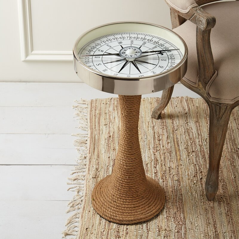 Valentine Working Compass Accent Table With Rope Base