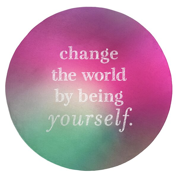 Multicolor Background Change The World Quote Poly Chenille Rug