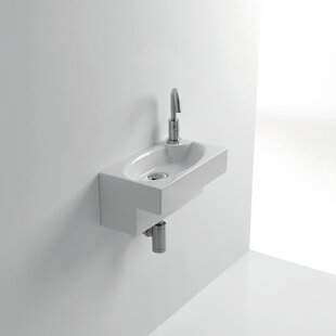 Best Deals Whitestone Deca Ceramic 8 Wall Mount Bathroom Sink with Overflow ByWS Bath Collections