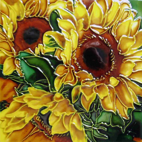 Yellow Sunflower Green Leave Tile Wall Decor by Continental Art Center