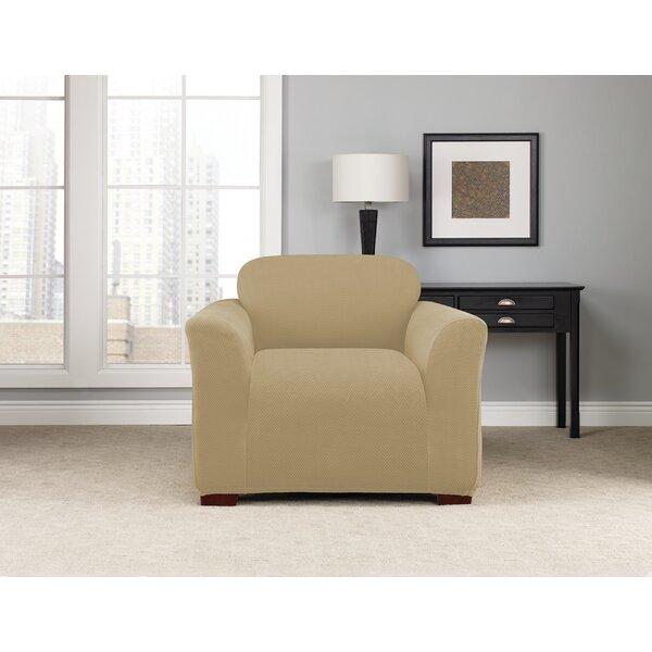 Review Stretch Modern Chevron Box Cushion Armchair Slipcover