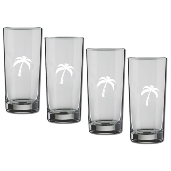 Sweetwood Palm Tree 16 oz. Crystal Highball Glass (Set of 4) by Bay Isle Home