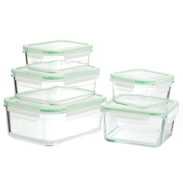 GoGREEN Glassworks Oven Safe 5 Container Food Storage Set by Kinetic
