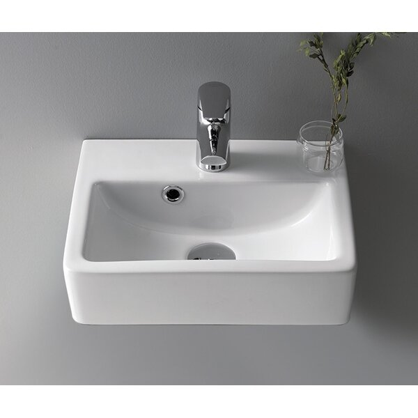 Mini Ceramic 15 Wall Mount Bathroom Sink with Overflow by CeraStyle by Nameeks