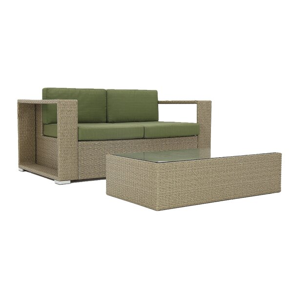 Rickey 2 Piece Rattan 2 Person Seating Group with Cushions by Brayden Studio
