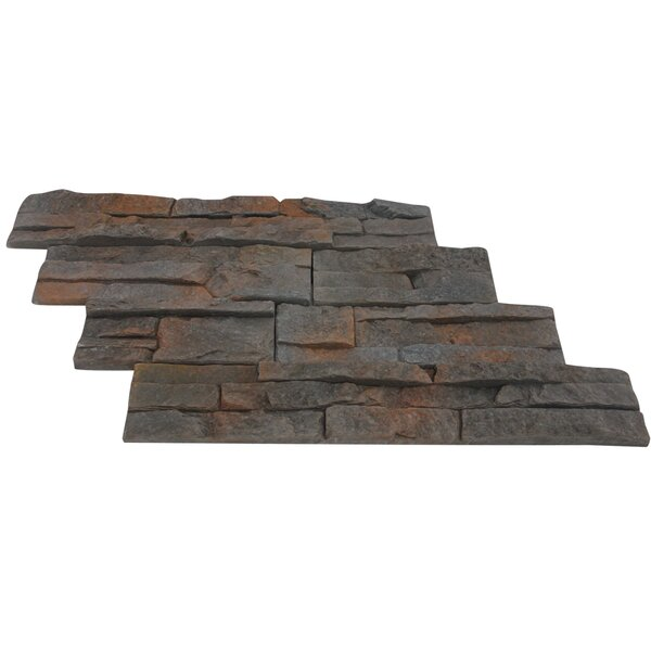 Odyssee Random Sized Engineered Stone Subway Tile in Charcoal (Set of 8) by Stone Design