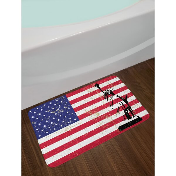 Dark Coral White Statue New York Bath Rug by East Urban Home
