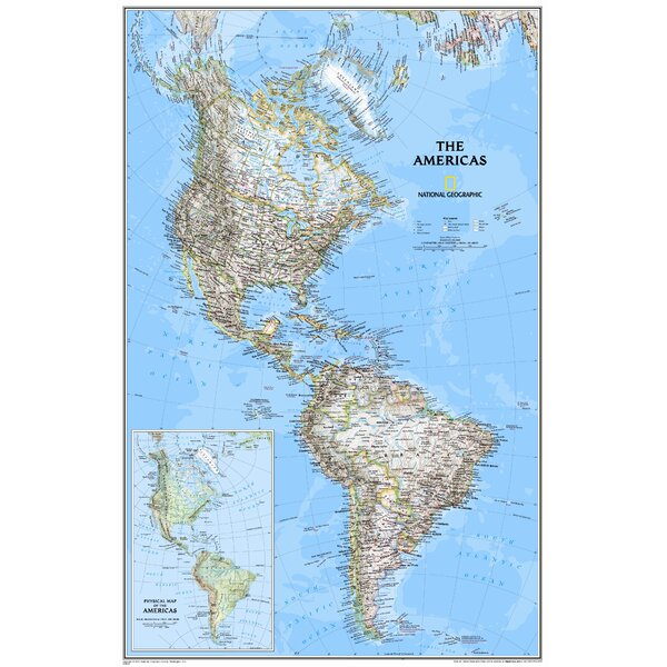 The Americas Classic Wall Map by National Geographic Maps