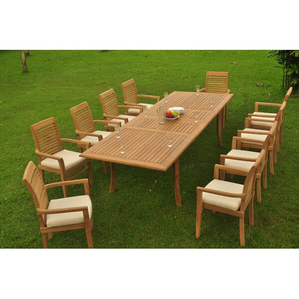 Salvatore Luxurious 11 Piece Teak Dining Set by Rosecliff Heights