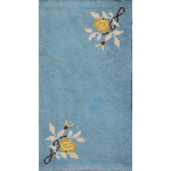 Delbarton Rya Sweden Oriental Hand-Knotted Wool Navy Blue Area Rug by Bloomsbury Market