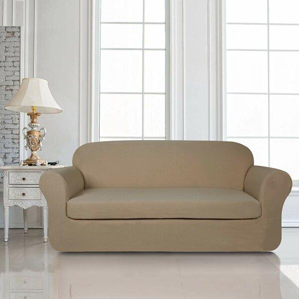 Knit Jacquard Box Cushion Loveseat Slipcover By Red Barrel Studio
