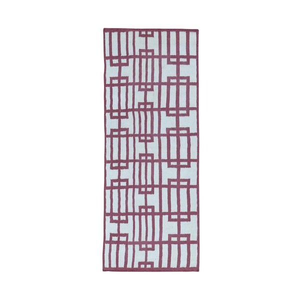 One-of-a-Kind Cilley Flat Weave Reversible Hand-Woven Wool Pink/Ivory Area Rug by Highland Dunes