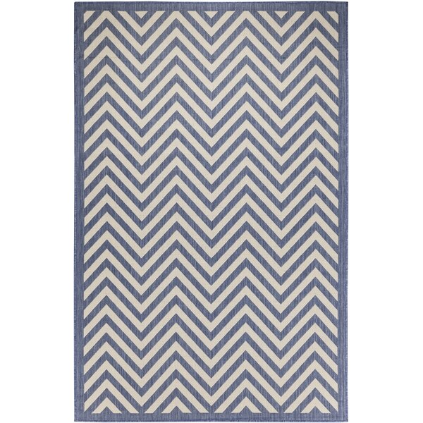 Odysseus Chevron Beige/Blue Indoor/Outdoor Area Rug by Ebern Designs