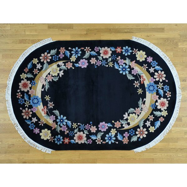 One-of-a-Kind Bethania Art Deco Oval Floral Design Cnese Hand-Knotted Black Wool Area Rug by Isabelline