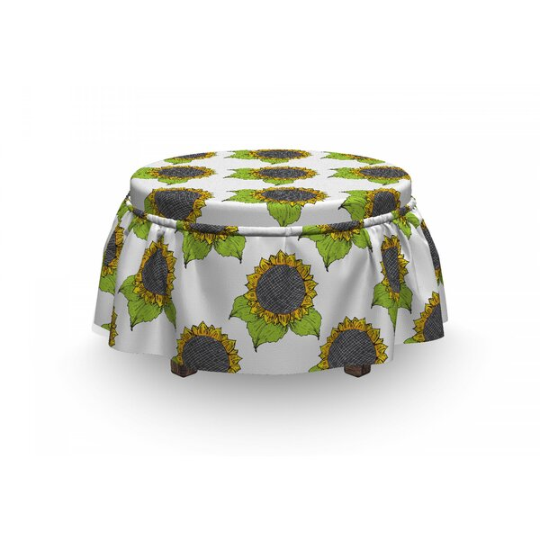 Spring Sunflower Sketch Ottoman Slipcover (Set Of 2) By East Urban Home