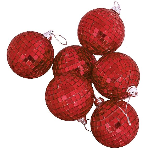 Mirrored Glass Disco Ball Christmas Ornament (Set