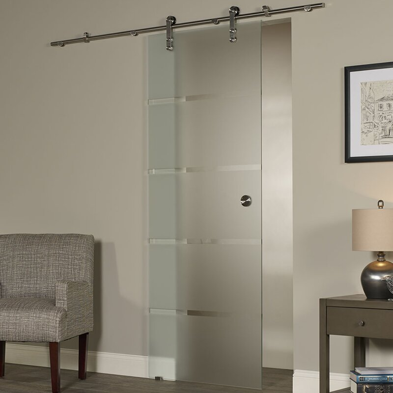 Interior Barn Door With Glass ltl barn doors new vision contour glass interior barn door | wayfair