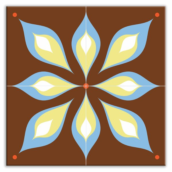 Earth Quads 12 x 12 Glossy Decorative Tile Quad in Mod Flair Brown by Oscar & Izzy
