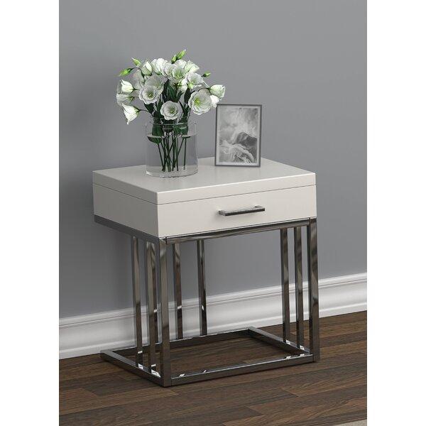 1-Drawer Rectangular End Table Glossy White And Chrome By Orren Ellis