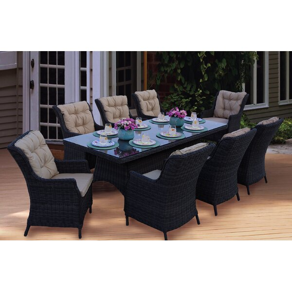 Audra 9 Piece Dining Set with Cushions (Set of 9) by Orren Ellis