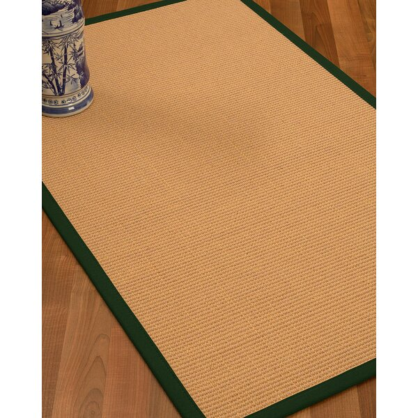 Lafayette Border Hand-Woven Wool Beige/Moss Area Rug by Bay Isle Home