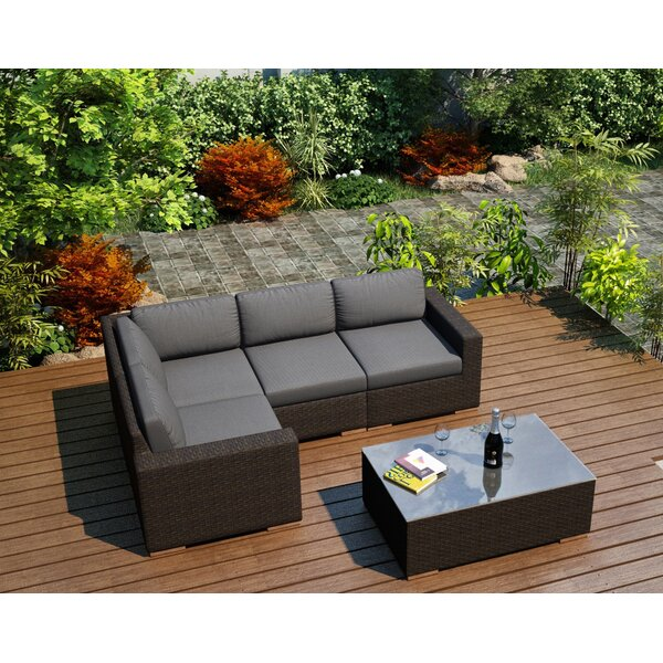 Hodge 5 Piece Teak Sectional Set with Sunbrella Cushions by Rosecliff Heights