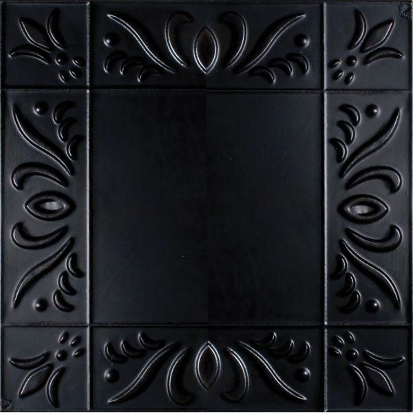 11 x 11 Metal Hand-Painted Tile in Black by Adams & Co