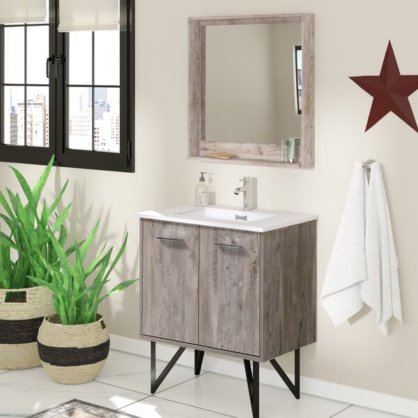 Ellison Nature Wood 30 Single Bathroom Vanity Set With Mirror by Union Rustic