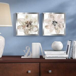 'Corolla III - Neutral' 2 Piece Framed Print Set on Glass