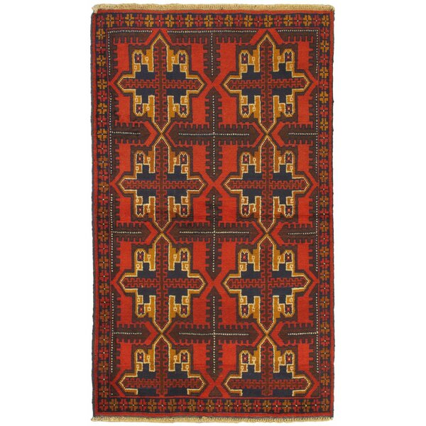 One-of-a-Kind Divine Hand-Knotted Wool Red/Bronze Area Rug by Isabelline