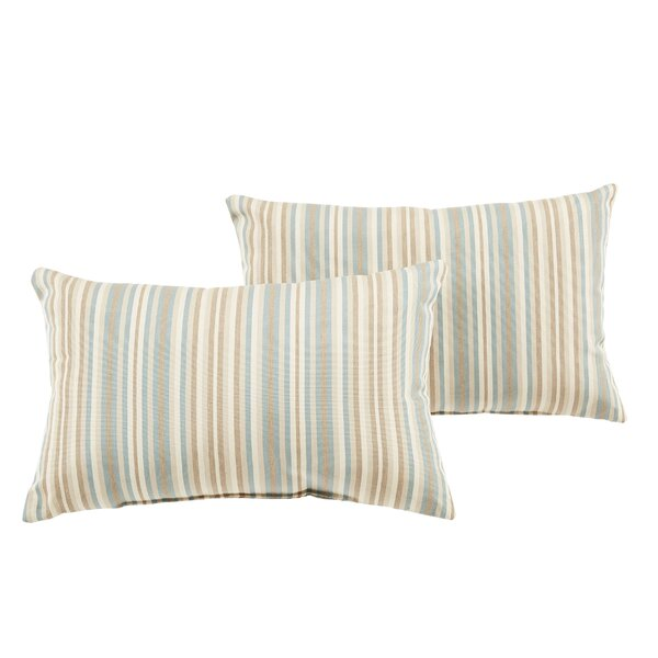 Cavisson Striped Indoor/Outdoor Sunbrella Lumbar Pillow (Set of 2) by Rosecliff Heights