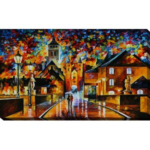 Night in the Old City by Leonid Afremov Painting Print on Wrapped Canvas by Picture Perfect International