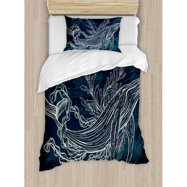 Silhouette of Whale in Doodle Style with Reef and Seaweeds Print Slate and Petrol Duvet Set by Ambesonne