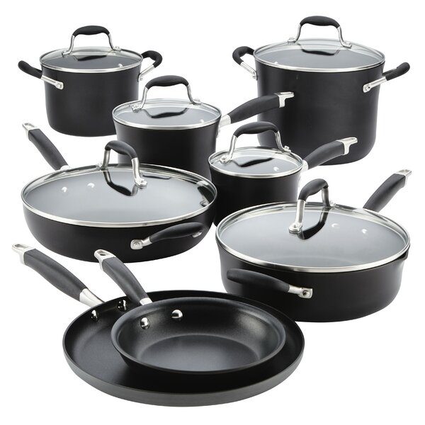 14 Piece Advanced Onyx Hard-Anodized Non-Stick Cookware Set by Anolon