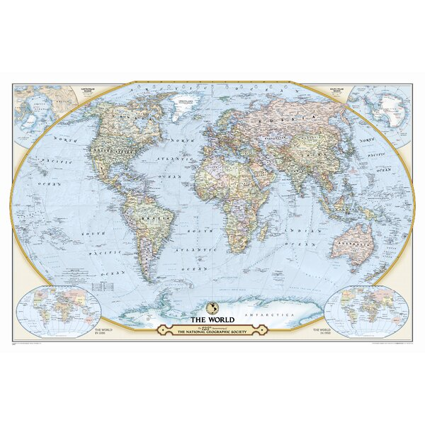 NGS 125th Anniversary World Map by National Geographic Maps