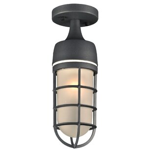 Bargain Garlington 1-Light Outdoor Semi Flush Mount By Bay Isle Home