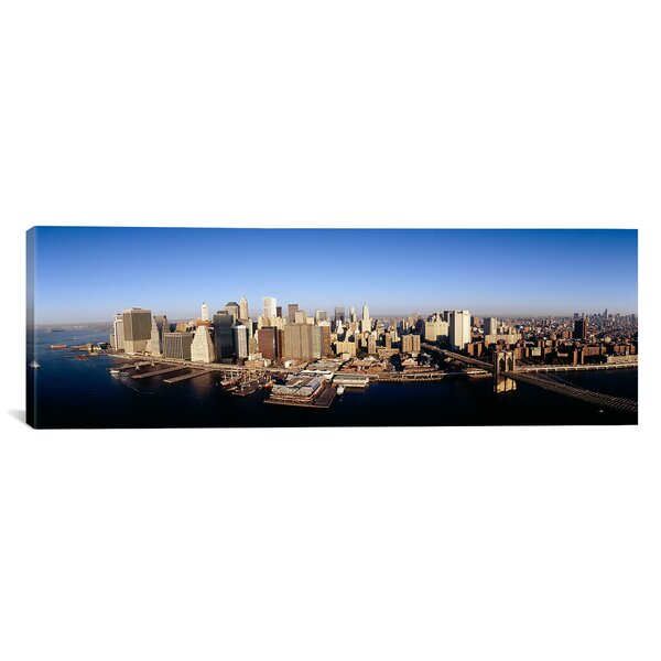 Panoramic Aerial View of a Cityscape, Manhattan, New York City, New York State Photographic Print on Canvas by iCanvas