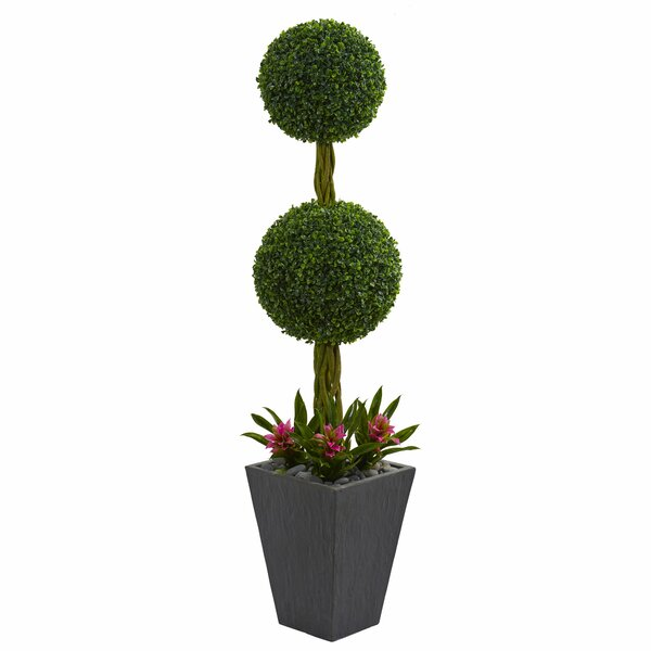 Double Ball Artificial Floor Boxwood Topiary in Planter by Bloomsbury Market