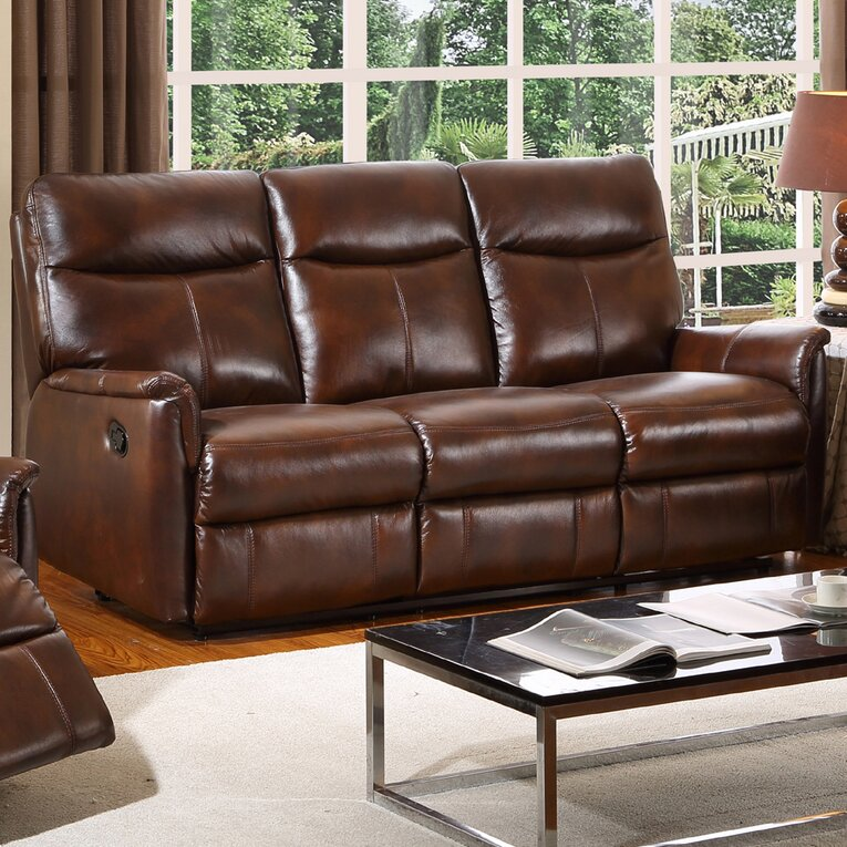 Graham Leather 3 Seater Reclining Sofa