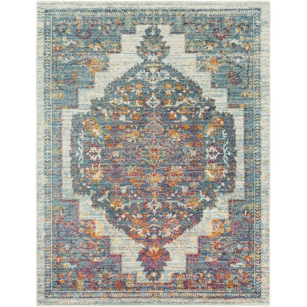 Quinlan Distressed Traditional Ivory/Aqua/Red Area Rug by Bungalow Rose