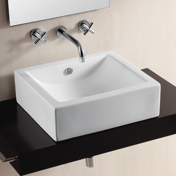 Ceramica II Ceramic Square Vessel Bathroom Sink with Overflow